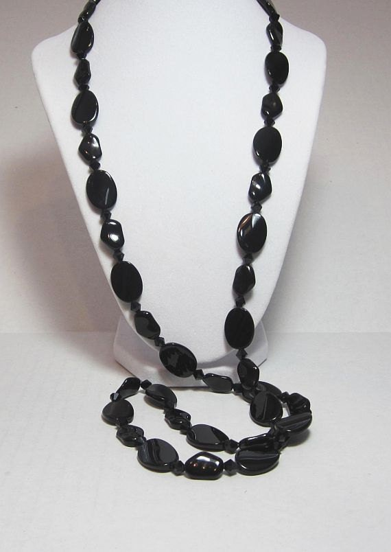 """Long Black Necklace Shiny Black Natural Shape Glass Beaded 40"""" Silver Plated Wire and Findings"""
