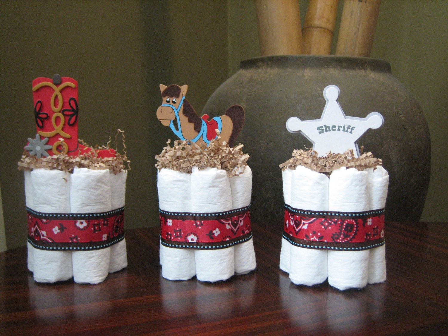 Three little cowboy mini diaper cakes for by for Baby shower decoration diaper cake