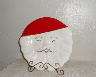 Santa Claus Ceramic Cookie Platter 1960s Marked California USA Vintage Collectible