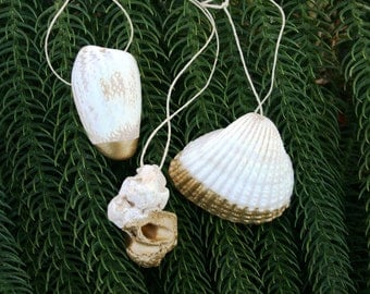 Set of 3 Shell Christmas Ornaments with Gold: Gift for Her, Gift for Him, Custom Ornament, Shabby Chic Holiday, READY TO SHIP for Christmas