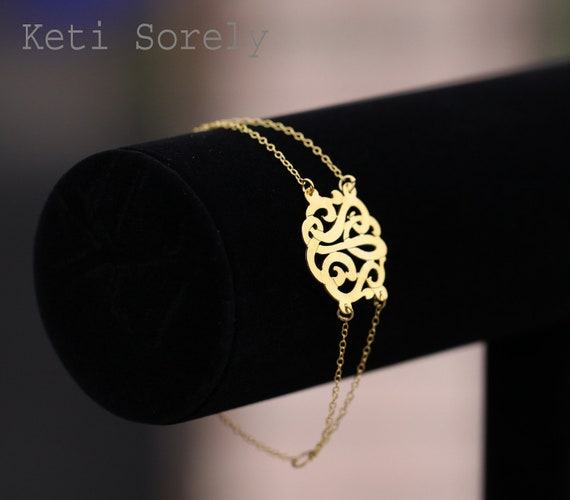 10k, 14K or 18K Gold - Personalized Monogram Initial Bracelet With Double Chain (Order Any Initials) -Yellow Gold