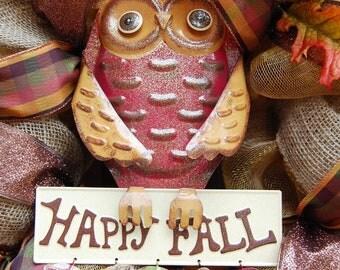 Fall or Halloween Owl Mesh Wreath
