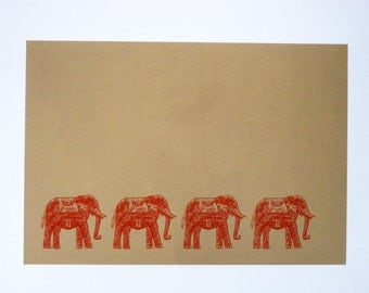 Procession of Elephants in Red - limited edition screenprint