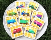 TRUCKS Wafer Papers for Cookies - Edible Images of Lorries, Vans, Pickups, Cars, Construction Vehicles,&c.