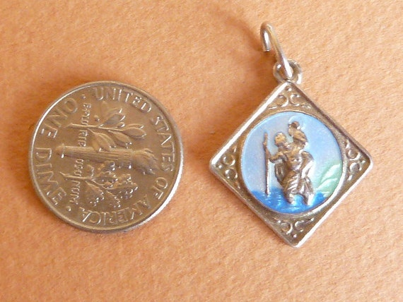 Vintage English Sterling Silver and enamel Charm  St Christopher   Pendant Bracelet charm