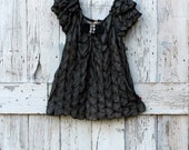 Perfectly Pretty Party Tunic upcycled black romantic babydoll top eco friendly fancy shirt