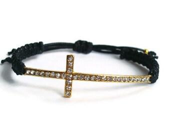 Gold Cross Macrame Bracelet