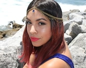 Victoria. Amethyst/ Sapphire . Beaded chain headpiece