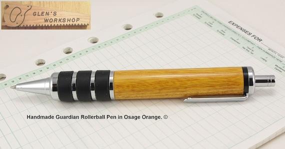 Ballpoint Click Pen Handmade Guardian Chrome Osage Orange
