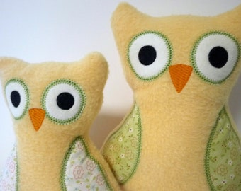 Baby Owl Gifts - Owl Plush with Owl Rattle - Custom Owl - Yellow and Green