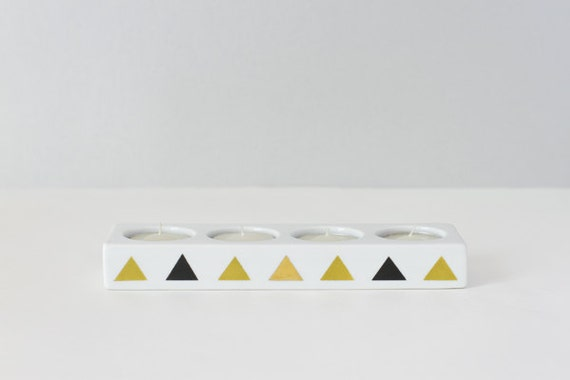 Geometric triangle candle holder GREEN