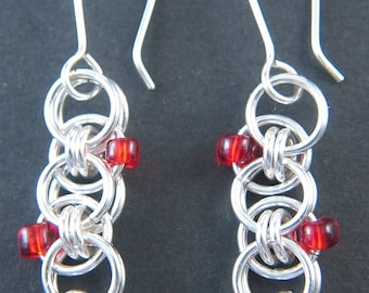 Sterling Silver Helm Chain Earrings with Red Beads