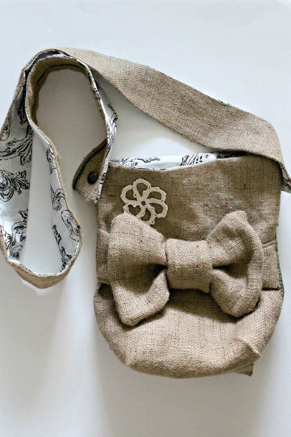 burlap purse with bow adjustable strap coffee bag fully lined with blue and brown print with doily
