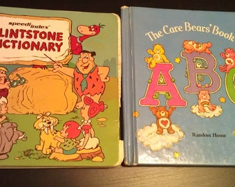Care Bears and Flintstone Vintage Books- FREE SHIPPING-Flintstone Dictionary and Care Bears Book of ABC's