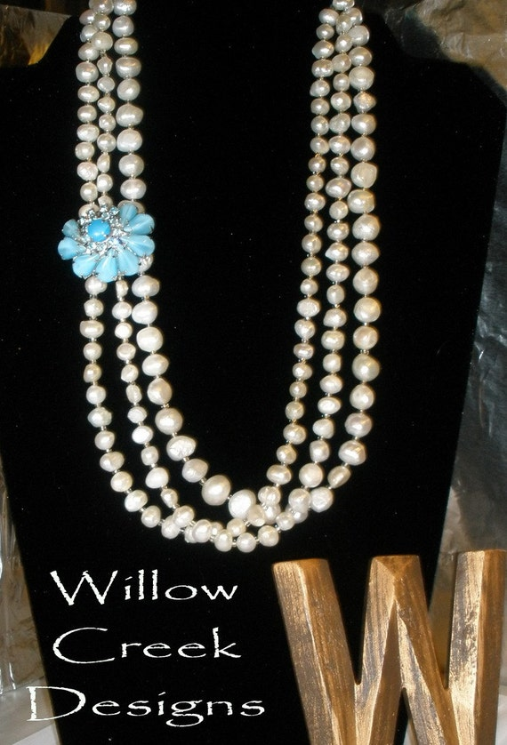 Classic Pearls - White Freshwater Pearls with Vintage Flower Pin with Rhinestones Necklace
