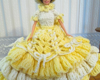 Crochet Victorian Doll Dress Lady In Yellow and Cream