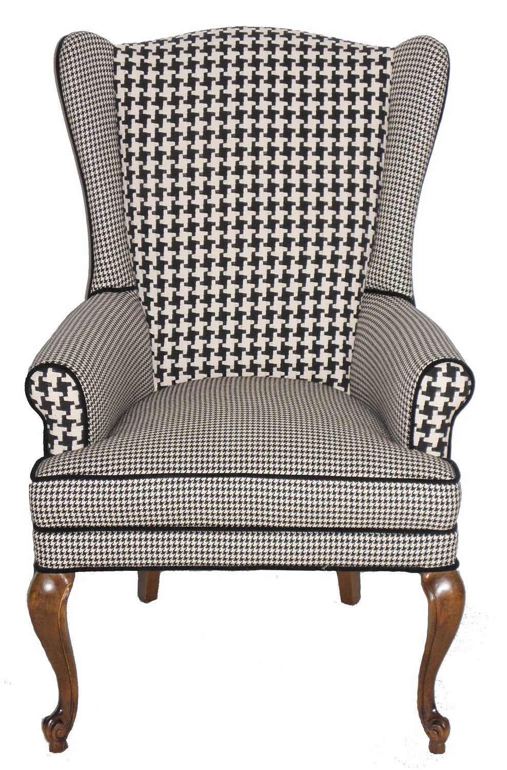 Reserved For Christina Houndstooth Wingback Armchair Vintage