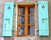 Distressed Shutters Photo. French Windows.  Old Shutters. Country French Decor. Turquoise. France. Rustic. French Window Photograph.