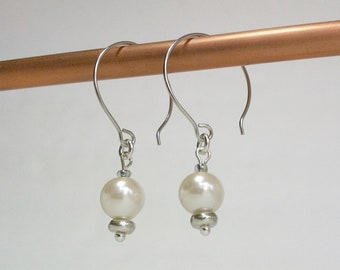 Ivory Pearl Dangle Earrings