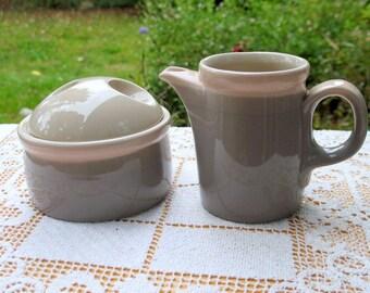 "Mikasa ""Discovery"" Aruba Creamer and Sugar Bowl 10 oz  Japan Grey Pink Excellent P3004 Ben Seibel Design"