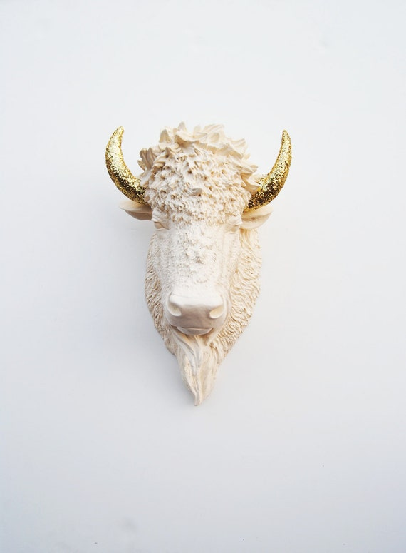 Faux Bison - The Kersey - Antique White Resin Bison Head w/Gold Glitter Horns- Buffalo Resin Antique White Faux Taxidermy- Chic & Trendy