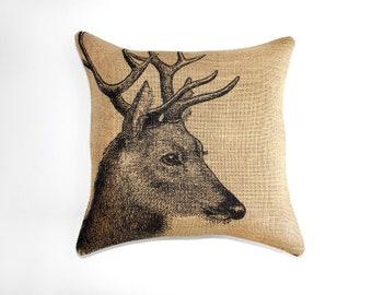 Deer Pillow, Burlap Pillow, Cushion, Rustic, Decorative Throw Pillow, Log Cabin, Woodlands, Accent Pillow, Black and Beige