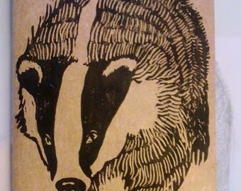 Handmade Lino Printed Badger Moleskine Cahier Notebook