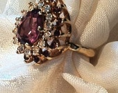 Vintage Red Amethyst Ring Pear Cut w/ White Zircons in Yellow Gold Estate Jewelry Cocktail Ring 6th Anniversary Mothers Day Birthday Gift