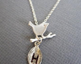 SALE - Initial charm necklace, Hand Stamped Leaf Monogram, Tiny Bird on branch charm necklace, Children necklace, Dainty silver necklace.