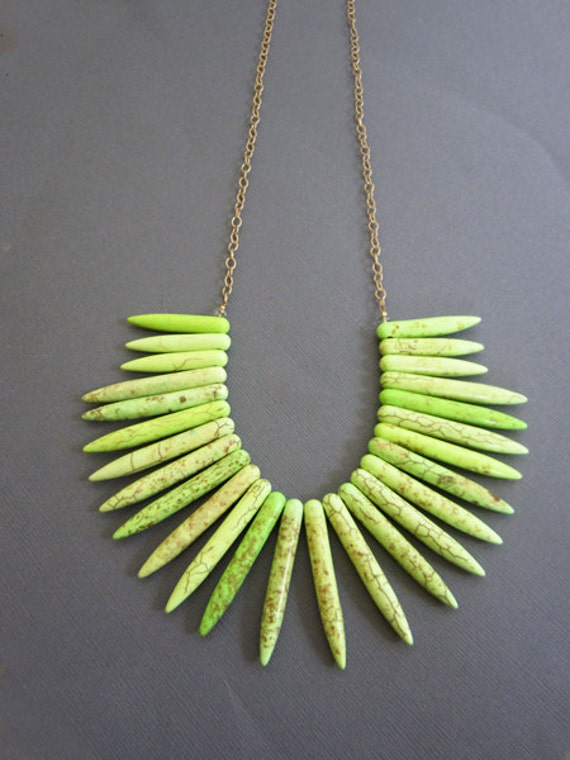 Neon Yellow Necklace , large necklace, bib necklace, Turquoise necklace, Howlite spear necklace.