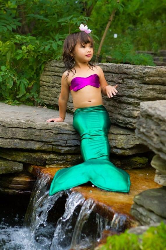 Little mermaid costume - Girls green mermaid Tail for Little Girls 5-7