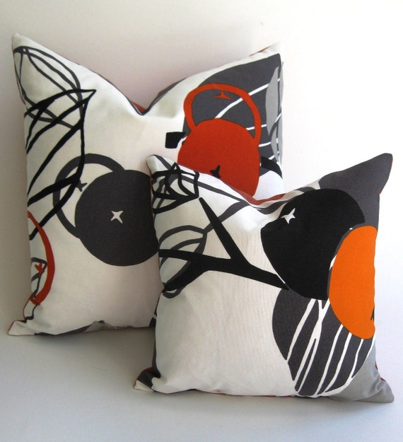 Fall SALE Down Feather Inserts Included  Modern Fall Orange Black Grey Pillows (Pair) FREE SHIPPING