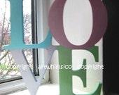 Wood letters LOVE, wood sign, wood alphabets, wood decor