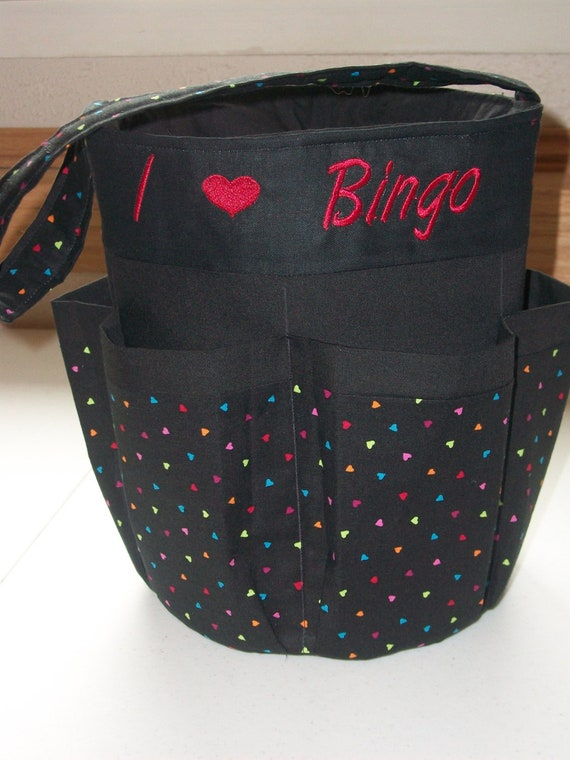 Monogrammed Bingo Bag Tote/ Craft Bag in Multi Colored Hearts