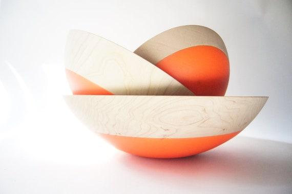 Wooden Nesting Bowls set of 3, Neon Orange, CHERRY WOOD, Halloween, Fall Decor