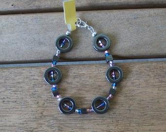 Black Metallic Ring with Czech Seed Bead Bracelet