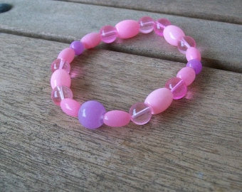 Strech Pink and Purple Glass Bead Bracelet