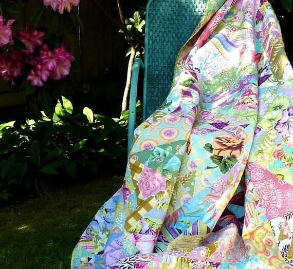 Twin Patchwork Quilt Modern Contemporary Teen Girl - Homemade Handmade - Amy Butler Pastel Fabrics - Pink Aqua Turquoise  Green Blue Purple