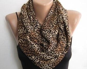 Leopard infinity scarf, loop scarf, cheetah circle scarf, autumn fashion scarf