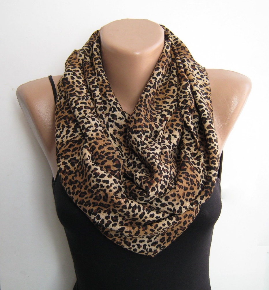 leopard infinity scarf loop scarf cheetah circle by sascarves