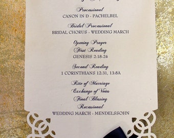 Die-Cut Elegant Wedding Ceremony Programs - Fan Programs with YOUR CHOICE of Ribbon & Font Colors FREE