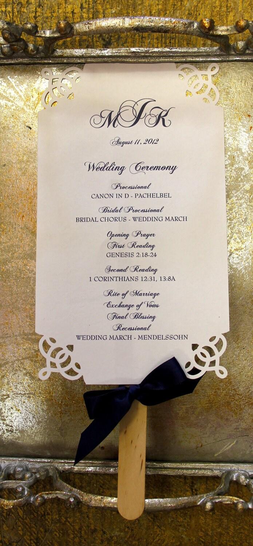 Die Cut Elegant Wedding Ceremony Programs Fan By