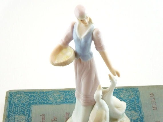 Vintage Porcelain Figurine. European Peasant Girl with Geese. Office. Library. French Country Home.