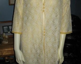 Vintage 1960's Lace and Chiffon Jacket Coat Jackie Kennedy Madmen Spring Summer Small Medium