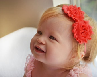 Baby Headband, Newborn headband,  Watermelon Shabby Flowers, Baby Girl Accessories, Toddler headband, Birthday headband, Baby photo prop,