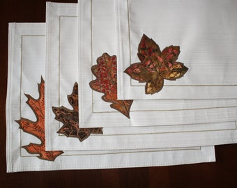 Ivory Placemats with Appliqued Leaves, Set of 4