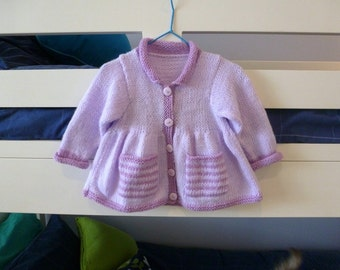 Cute baby girl cardigan with striped pockets, mauve and lilac handknit sweater, to fit baby girl to about 6 months