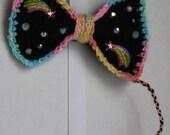 Rainbow Road black and pastel rainbow medium Crochet Bow