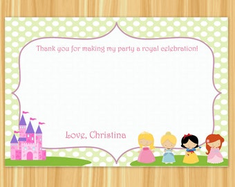 Princess Thank You Card | Princess Party Thank You Card | Princess Birthday Party