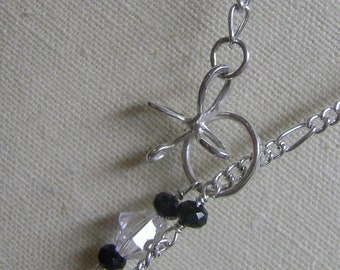 BUTTERFLY Lariat- Sterling Silver Butterfly Lariat with Black Glass and Swarovski Beads